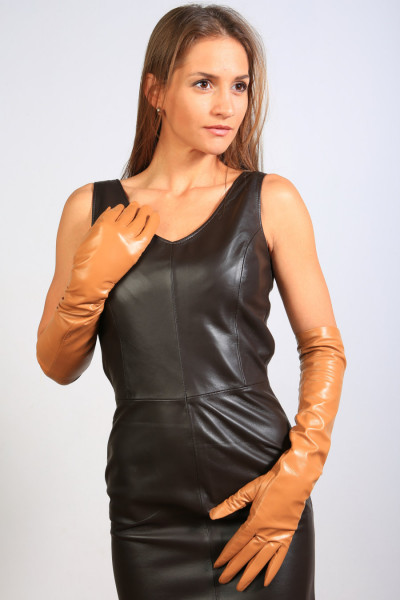 Lange Lederhandschuhe in mittelbraun XL - Operagloves