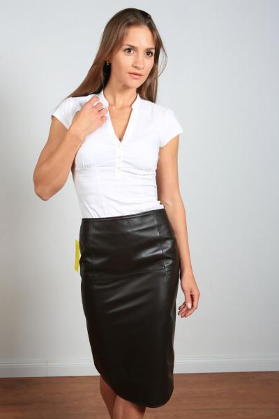 Luxus-Lederrock in braun - Pencilskirt / Bleistiftrock - Größe 38