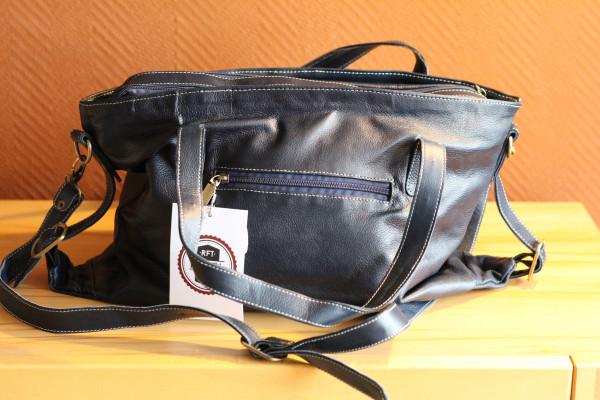 Handtasche, dunkelblau, Rindsleder