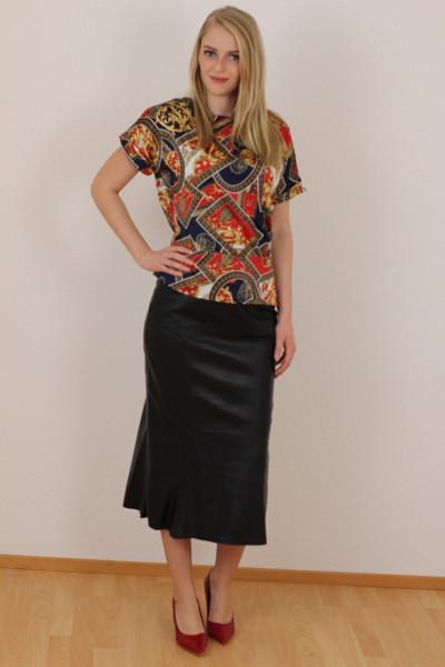 Luxus - Lederrock mit Falten, Größe 50 , schwarz