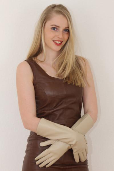40 cm Lederhandschuhe, Größe XXL, beige Operagloves