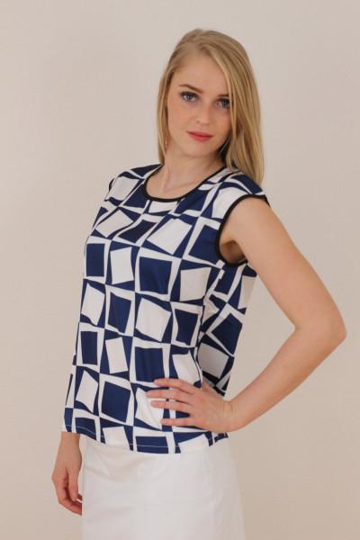 Bluse , Größe XL, blau/weiss gemustert , kurzer Ärmel
