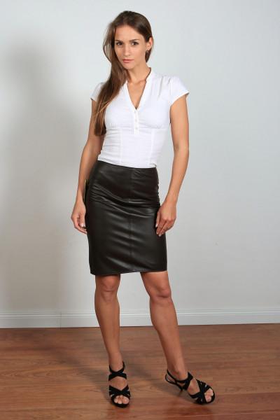 Luxus-Lederrock in der Farbe schwarz, Pencilskirt, Grösse 42