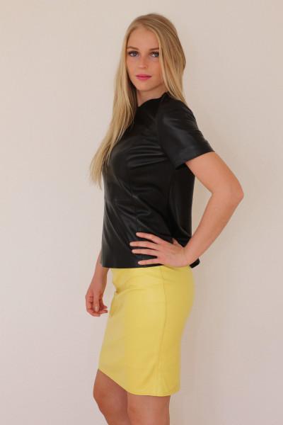 Luxus-Lederrock in der Farbe gelb , Grösse 40