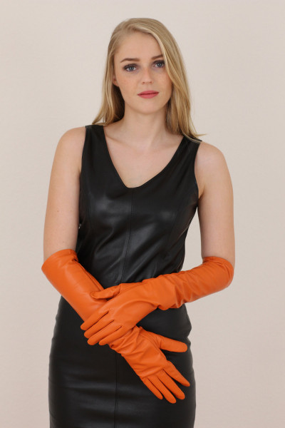 Lange Lederhandschuhe in orange - Operagloves