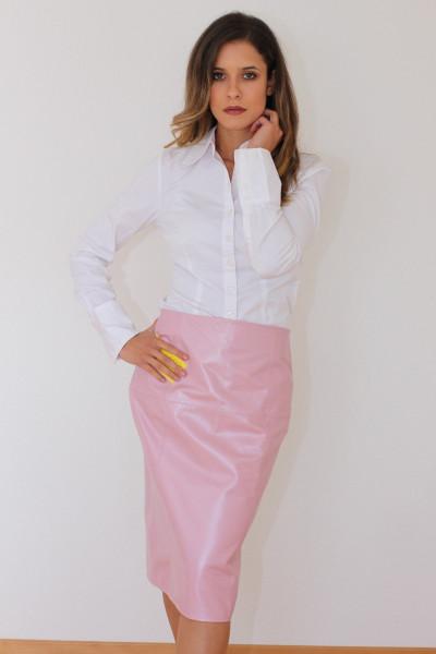 Luxus-Lederrock in der Farbe pink, Pencilskirt / Bleistiftrock, Grösse 38