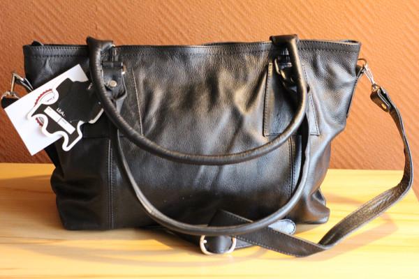 Handtasche, schwarz, Rindsleder
