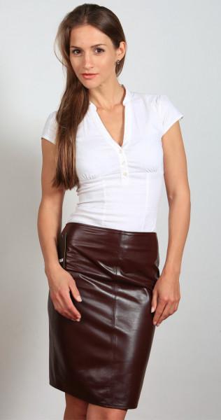 Luxus-Lederrock in der Farbe Bordeaux, Grösse 48