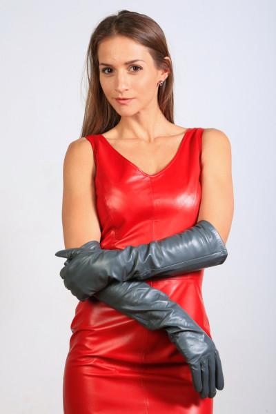 Lange Lederhandschuhe in grau - Operagloves