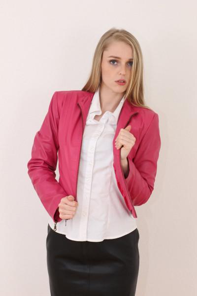 Taillierte Lederjacke in pink - Grösse XL