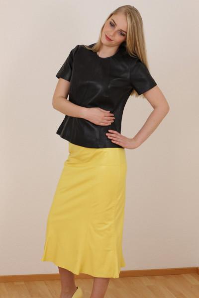 Luxus - Lederrock mit Falten, Größe 38, gelb