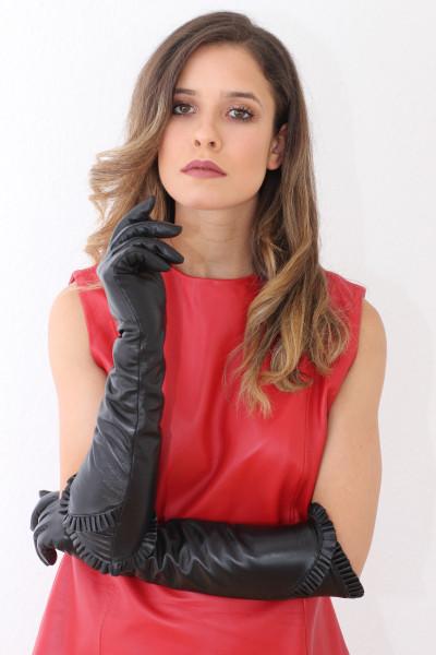 Lederhandschuhe in schwarz 8,5 - Operagloves