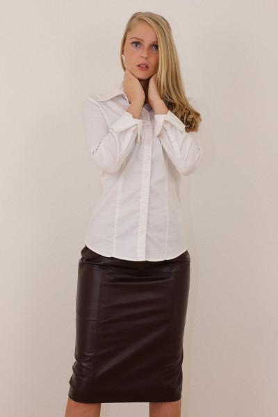 Luxus-Lederrock in bordeaux - Pencilskirt / Bleistiftrock - Größe 48