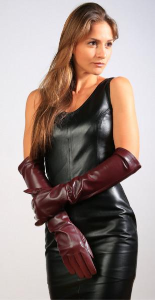 Lange Lederhandschuhe in bordeaux - Operagloves