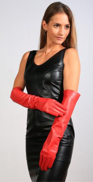 Lange Lederhandschuhe in rot - Operagloves