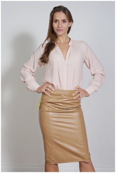 Luxus-Lederrock in der Farbe camel, Pencilskirt / Bleistiftrock, Grösse 36