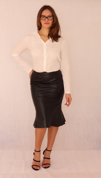 Falten Lederrock in schwarz, Größe 36, Slim-fit, Bleistiftrock, eng