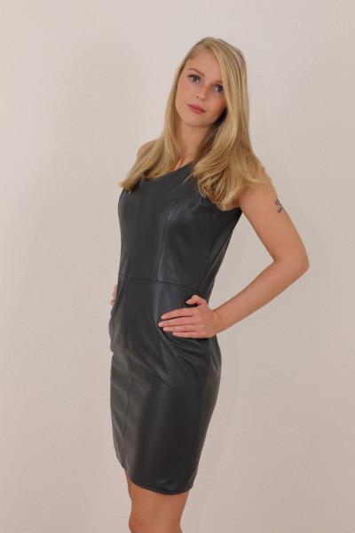Lederkleid in blau - Etuikleid aus Nappaleder Größe 42