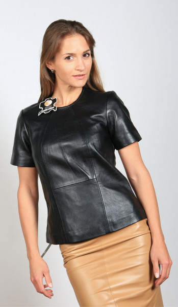 Ledershirt in schwarz mit Arm, Grösse M, Material Sheepskin