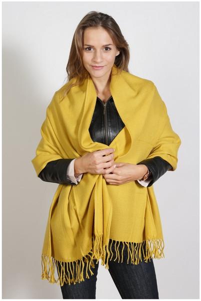 Schal , Größe 200 x 60 cm, Grundfarbe gelb
