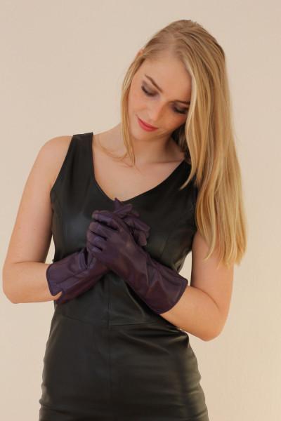 Lederhandschuhe in lila Größe XXL