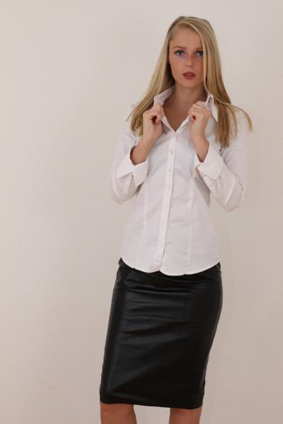 Luxus-Lederrock in der Farbe schwarz, Pencilskirt / Bleistiftrock, Grösse 42