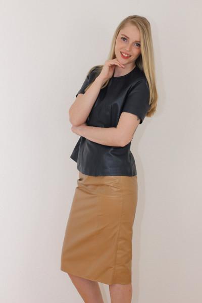 Luxus-Lederrock in der Farbe camel, Pencilskirt / Bleistiftrock, Grösse 42