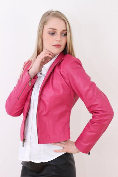 Taillierte Lederjacke in pink Grösse L