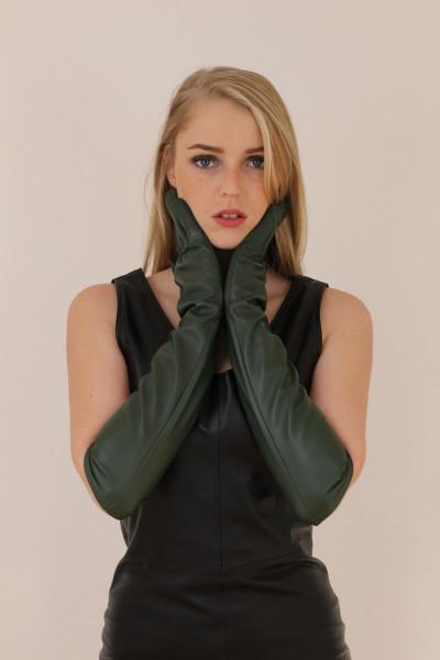 Lange Lederhandschuhe in dunkelgrün XXL - Operagloves