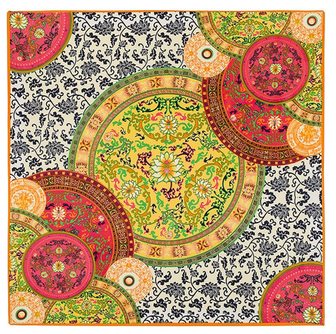Satintuch, Muster 2, Grö0e 90 x 90 cm, mehrfarbig