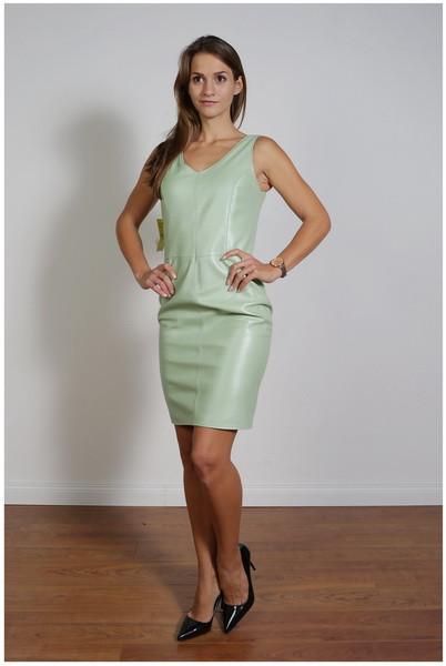 Lederkleid in powdergreen - Etuikleid aus Nappaleder, Größe 38