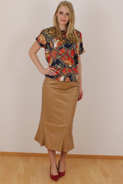 Luxus - Lederrock mit Falten, Größe 38 , camel