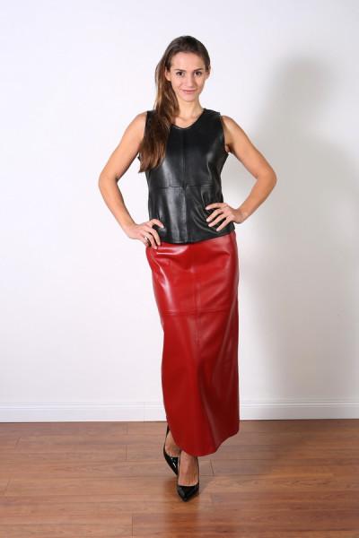 Superlanger Luxus-Lederrock in der Farbe rot, Grösse 38