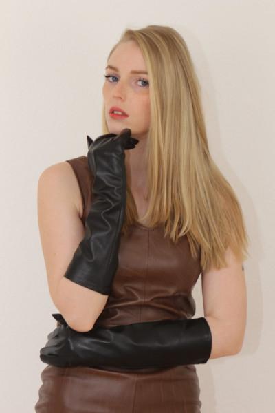 40 cm Lederhandschuhe, Größe XXL, schwarz, Operagloves