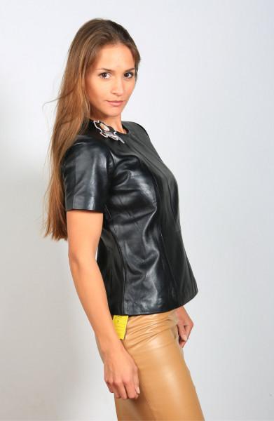Ledershirt in schwarz mit Arm, Grösse L, Material Sheepskin
