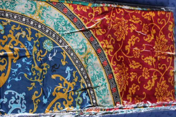 Satintuch 90 x 90 cm, mehrfarbig, rot / blau / gold