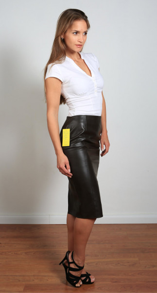 Luxus-Lederrock in der Farbe schwarz, Pencilskirt / Bleistiftrock, Grösse 40