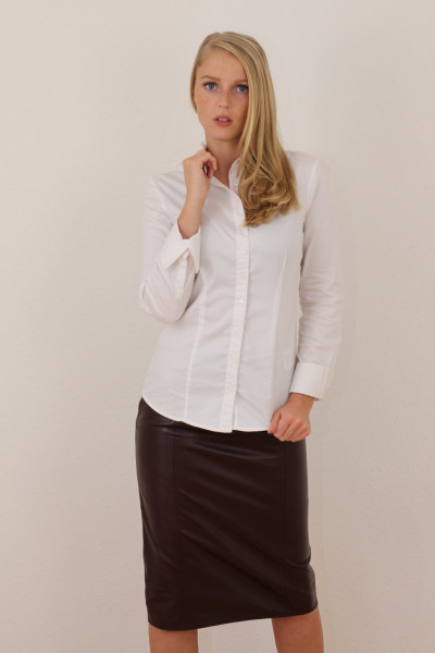 Luxus-Lederrock in bordeaux - Pencilskirt / Bleistiftrock - Größe 38