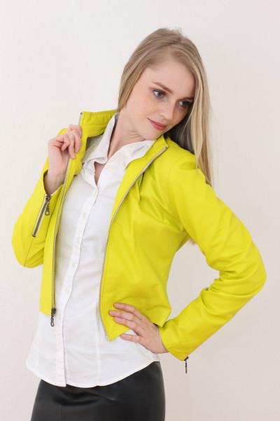 Taillierte Lederjacke in gelb - Grösse XXL