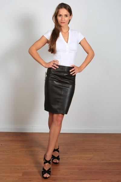 Luxus-Lederrock in der Farbe Braun, Grösse 38