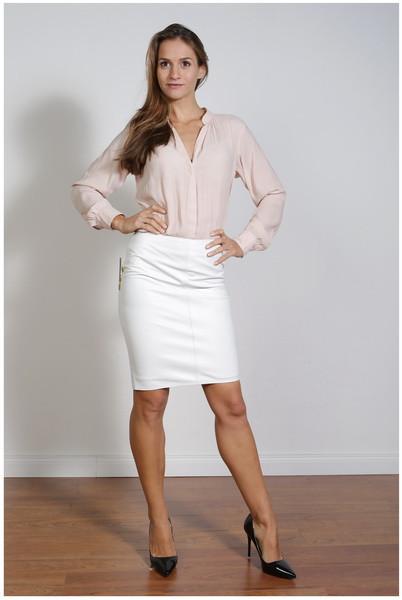 Luxus-Lederrock in der Farbe Weiss , Grösse 40