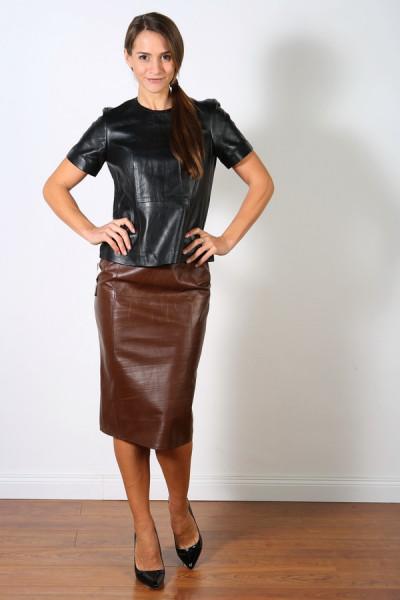 Luxus-Lederrock in der Farbe Creased Brown, Pencilskirt / Bleistiftrock, Grösse 46