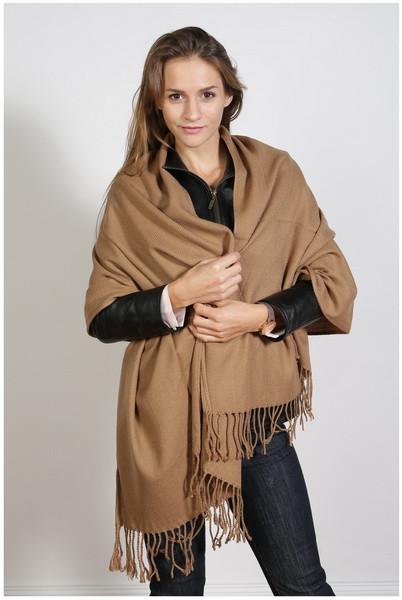 Schal , Größe 200 x 60 cm, Grundfarbe braun