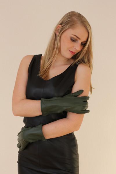 Lederhandschuhe in dunkelgrün, Größe XXL
