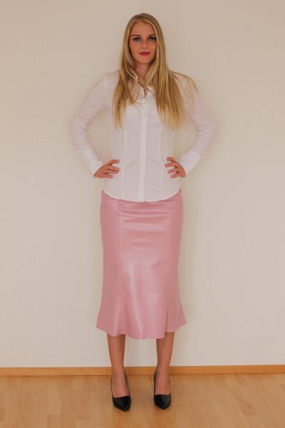 Luxus - Lederrock mit Falten, Größe 38 , pink