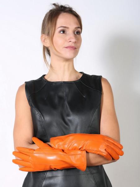Lederhandschuhe in orange Größe XXL