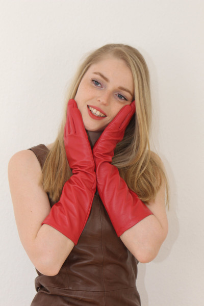 40 cm Lederhandschuhe, Größe XXL, rot, Operagloves