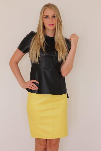 Luxus-Lederrock in der Farbe gelb, Grösse 50