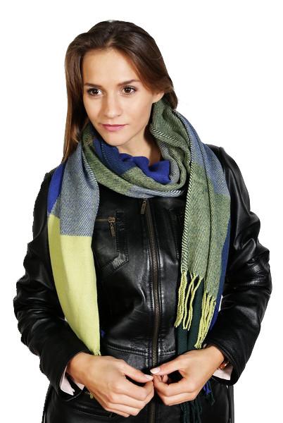 Karierter Schal , Größe 200 x 60 cm, Grundfarbe grün / blau / lila