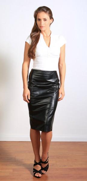 Luxus-Lederrock in schwarz - Pencilskirt / Bleistiftrock - Größe 38